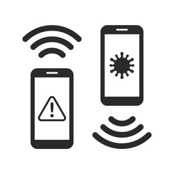 Coronavirus contact tracing app icon. COVID-19. Contact with an infected person. Stay alert, control the virus, and in doing so, save lives. Vector icon isolated on white background.
