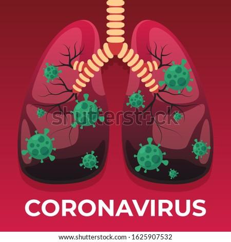 Coronavirus, CoV, health and medical, Human Lung System, Anatomy, vector illustration.