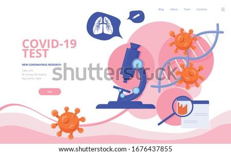 Coronavirus COVID-19 diagnostics concept vector illustration. Virology diagnostics site landing page wireframe.  2019-ncov coronavirus conference report or poster presentation template.