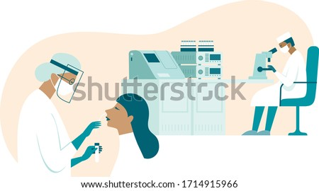 Coronavirus COVID-19 diagnostics. Doctor wearing full antiviral protective gear making nasal swab test for patient. Labaratory assistant examines test samples with microscope. Flat vector illustratio