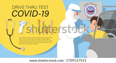 Coronavirus COVID-19 drive through testing infographic, Vector illustration with Medical workers in full protective suit and medical appliance takes sample from customer