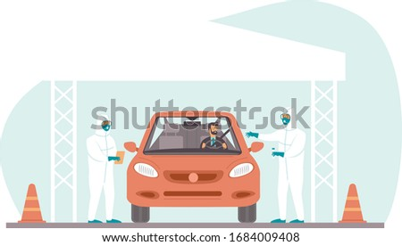 Coronavirus COVID-19 drive through testing site. Medical workers in full protective gear takes sample from driver inside the car. Drive-thru test site concept. Flat vector illustration