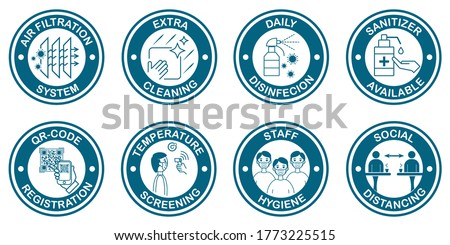 Coronavirus covid-19 free zone, area. Set of icons, signs with covid-19 preventive protective measures for restaurants, stores and any public places. Vector templates for posters, stickers, banners.