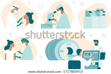 Coronavirus COVID-19 illustration set. Doctor making nasal swab test. Lab assistant examine sample with microscope. Vaccine discovery. Medical team making computer tomography. damaged lungs on screen