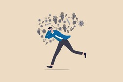 Coronavirus COVID-19 infect paranoid, panic, fear or nervous from social distancing, solitude or self isolation concept, man running with fear, paranoia about COVID-19 Coronavirus infectious disease