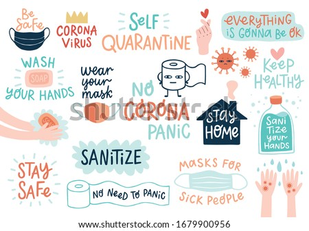 CoronaVirus Covid-19 letterings and other elements. Vector illustration.