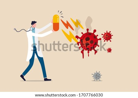 Coronavirus COVID-19 medicine or vaccine discovery, drugs to cure COVID-19 flu concept, doctor holding big tablet medicine or drugs with recovery effect to kill Coronavirus pathogen to melt to death.