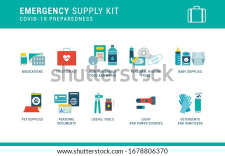 Coronavirus Covid-19 preparedness: emergency supply kit with essential items to keep at home Photo stock ©