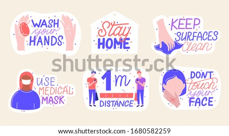 Coronavirus COVID-19 prevention hand drawn sticker set. How to protect yourself from infection, hand washing, avoid patients and cover your sneeze. Cartoon badges with quotes. Trendy flat. Vector