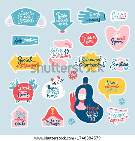 Coronavirus COVID-19 prevention measures sticker set. How to protect yourself - hand washing, keep apart, work from home. Cartoon badges with lettering quotes. Flat hand drawn Vector illustration