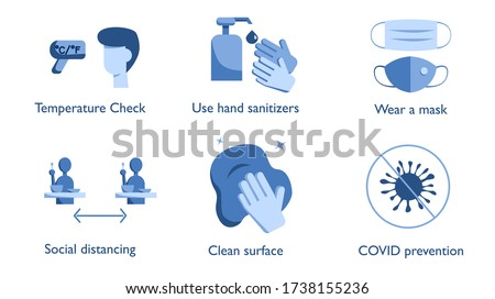 Coronavirus COVID-19 prevention policies icon for reopen restaurant or store : Temperature check, use hand sanitizer, wear a mask, keep social distancing, clean surface. Vector sign