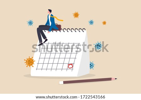 Coronavirus COVID-19 quarantine schedule calendar, plan for reopen business after COVID-19 lockdown concept, businessman business owner sitting on desktop calendar thinking about plan after lockdown.