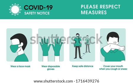 Coronavirus covid-19 safety measures. wear a face mask, wear disposable gloves and keep safe distance, cover your mouth when you cough and sneeze
