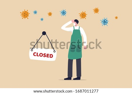 Coronavirus COVID-19 social distancing impact on entrepreneur or small business shop to closed with problem of employment, sad man business shop owner with closed sign and COVID-19 virus pathogen.
