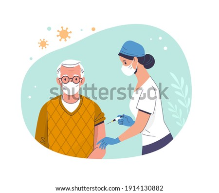 Coronavirus (COVID-19) Vaccination. Vector modern illustration of a  senior man and a doctor with a syringe. Isolated on abstract background