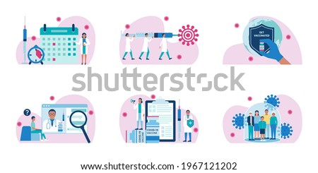 Coronavirus Covid-19 worldwide vaccination. Vector set of banner spot illustrations. Time to vaccinate. Doctors hold syringe with vaccine. Get vaccinated. QA about vaccine. Family vaccination concept