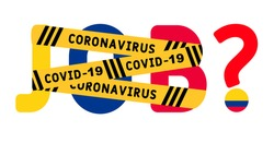 Coronavirus covid-19 yellow border on the word job. The concept of unemployment in Colombia. Coronavirus turns into unemployment, labor problems. Economic crisis.