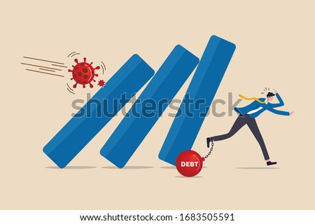 Coronavirus crash, COVID-19 economy collapse company bankrupt with debt from virus flu outbreak, businessman with debt panic running away from collapsing fall down bar graph from COVID-19 pathogen.