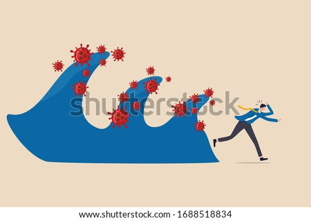 Coronavirus crisis destruction waves, second and third waves will be worse and disaster critical concept, fear and panic businessman run away from waves of COVID-19 coronavirus pathogen impact.