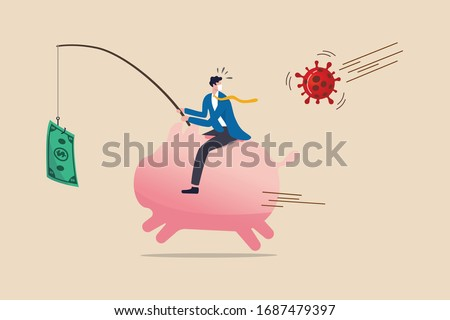 Coronavirus crisis money stimulus policy, QE or money injection to aid economics and business to survive in COVID-19 outbreak, businessman riding piggy bank fishing with money banknote run from virus.