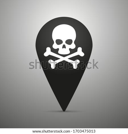 Coronavirus death case icon inside a pin, Covid-19. skulls and crossbones, symbol of death, danger or poison
