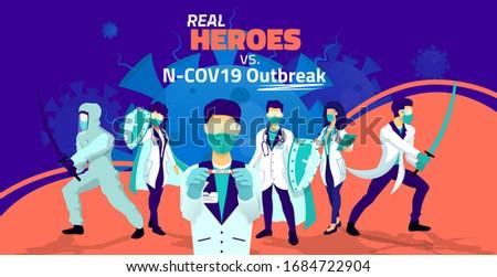 Coronavirus doctors team fight against pandemic. Doctor heroes battle versus corona virus ( Covid19 ) symptoms, disease, viral infection flat illustration concept.  Stock photo ©