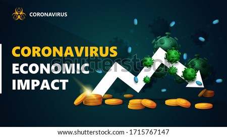 Coronavirus economic impact, black and green banner with white arrow an economic graph with gold coins around and surrounded by coronavirus molecules. Coronavirus economic impact background in black c Stock photo ©