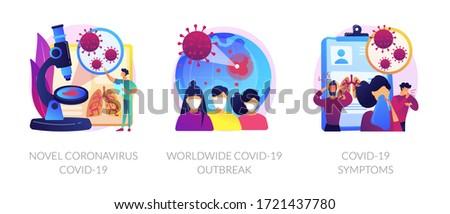 Coronavirus epidemy outbreak abstract concept vector illustration set. Novel coronavirus, covid19, world pandemic, virus spread respiratory infection, viral pneumonia symptoms abstract metaphor.