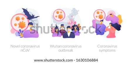 Coronavirus epidemy outbreak abstract concept vector illustration set. Novel coronavirus 2019 nCoV, Wuhan coronavirus outbreak, respiratory infection, viral pneumonia symptoms abstract metaphor.