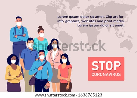 Coronavirus epidemy outbreak concept. People in protective medical face masks. Vector illustration.