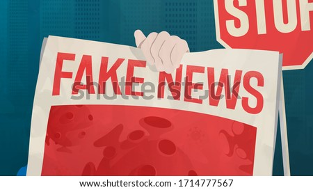 Coronavirus Fake News: Treatments, Misinformation And Conspiracy Theories. Unreliable And False Information Spreading Around The World. Debunking, Hoax, Junk News Concept. COVID-19 Vector Illustration ストックフォト ©