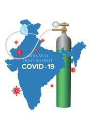 Coronavirus fight poster. India will fight against Covid-19 social media post. Vector Illustration design
