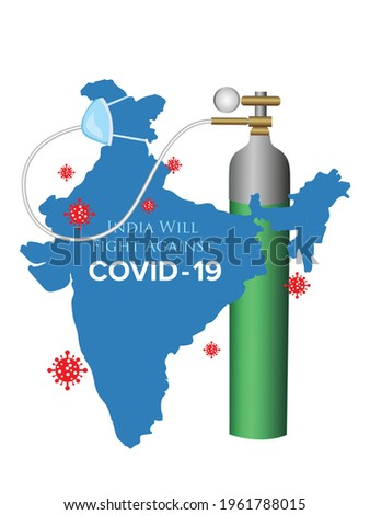 Coronavirus fight poster. India will fight against Covid-19 social media post. Vector Illustration design Stock photo ©