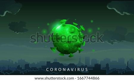 coronavirus  green poster with