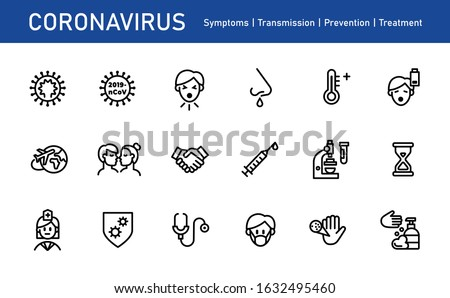 Coronavirus icon set for infographic or website - symptoms, transmission, prevention, treatment. Novel Coronavirus 2019-nCoV. 2019 and 2020 epidemic
