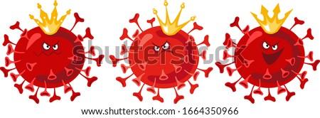 Coronavirus illustration, three strains set. SARS-CoV-2 vector illustration. 2019-nCoV Coronavirus epidemic in 2020. China coronavirus strain close up.