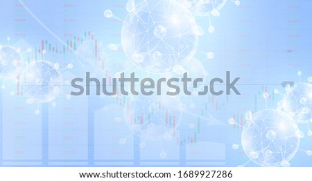 Coronavirus impact on global economy and stock markets, financial crisis concept on blue background. Graphs representing the stock market crash. Shares fall down. Markets plunging. Economic fallout.