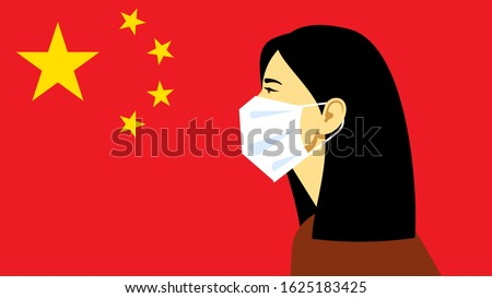 Coronavirus in China. Novel coronavirus (2019-nCoV), woman in white medical face mask. Concept of coronavirus quarantine.