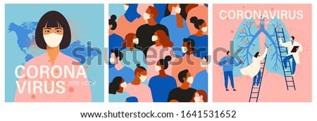 Coronavirus in China. Novel coronavirus, people in white medical face mask. Concept set of coronavirus quarantine illustration. Stock photo ©