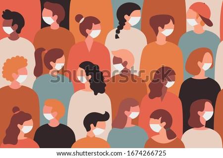 Coronavirus in Europe. 2019-nCoV, people in white medical face mask. Quarantine vector illustration. Seamless pattern.