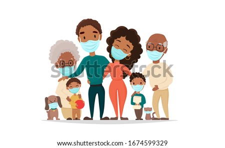 Coronavirus in whole world. African black family in medical face mask. Concept of coronavirus quarantine 2020. Protect your family and prevent the flu, vector flat cartoon illustration.