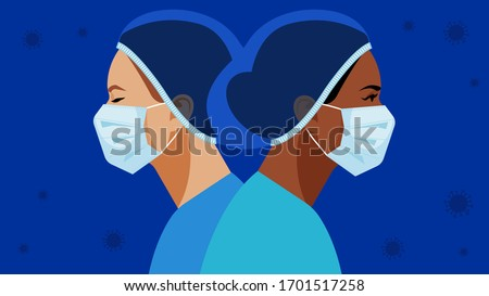 Coronavirus in World. Doctor and nurse in a medical mask and hat. Virus symbol in the air. Medical staff are fighting a viral infection. Vector illustration of a nurse in blue uniform on a blue.