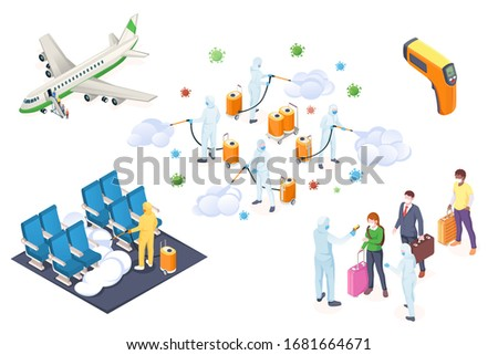 Coronavirus infection transmission prevention and disinfection, vector isometric infographics. Coronavirus epidemic antiviral disinfection hygiene, airplane traveler temperature check and quarantine