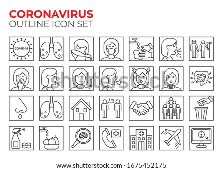 Coronavirus line icon set for infographic or website. Covid-19 symptoms, transmission and precauion outline icons. Virus pandemic vector illustrations. 2019-nCoV prevention tips (mask, wash hands...)