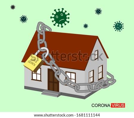 Coronavirus Lockdown symbol. Corona virus pandemic puts countries on lock down. outbreak design Vector illustration House designs around the world are locked because they avoid lock home