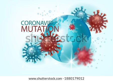 Coronavirus mutation vector background with COVID-19 molecules, globe, world map. Virus prevention, pandemic or medical research banner with microscopic disease images. UK, Europe coronavirus mutation Stock fotó ©
