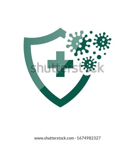 Coronavirus 2019-nCoV Bacteria Icon. Bacteria Protection logo vector. Coronavirus outbreak Stop virus. Isolated vector icon of virus on blue background for poster, banner, flyer. Сток-фото ©