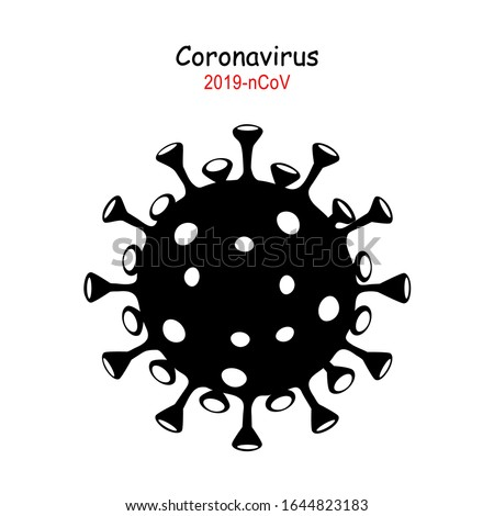 Coronavirus 2019-nCoV. Corona virus icon. Black on white background isolated. China pathogen respiratory infection (asian flu outbreak). influenza pandemic. virion of Corona-virus.  Vector