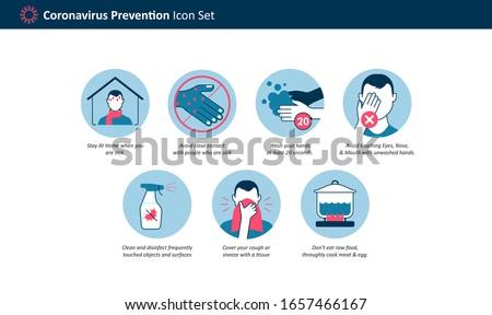 Coronavirus 2019-nCoV (Covid-19) Prevention icon set for Infographic