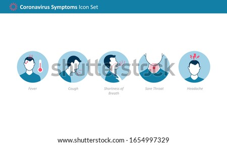 Coronavirus 2019-nCoV (Covid-19) symptoms icon set for Infographic
